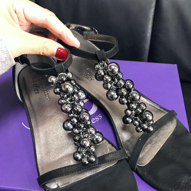 ALDO 專櫃女黑珠珠平底涼鞋👡近全新23.5-24可穿