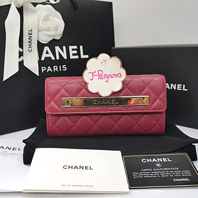 fe2eeb75a70f65 Authentic Chanel Quilted Lambskin L-Flap Long Wallet GHW {{ Only For ...