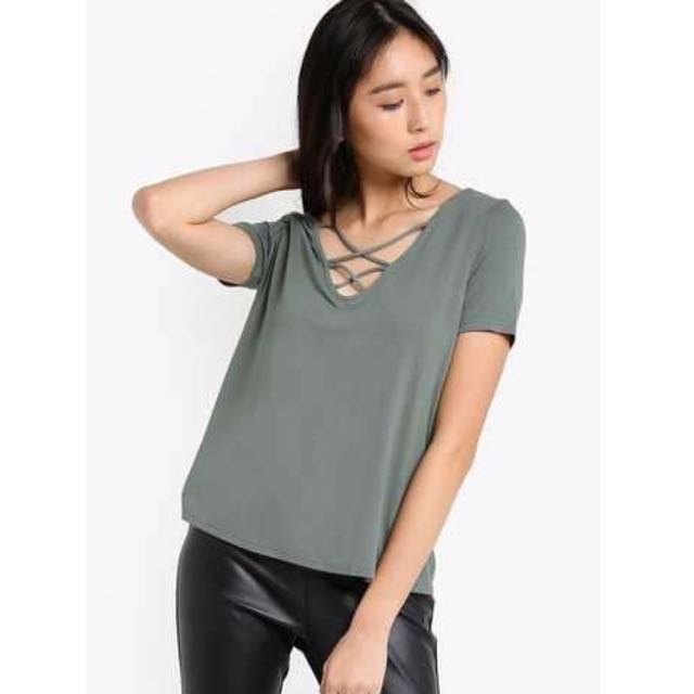 Authentic Topshop lace up dusty green top Blouse tshirt shirt tee