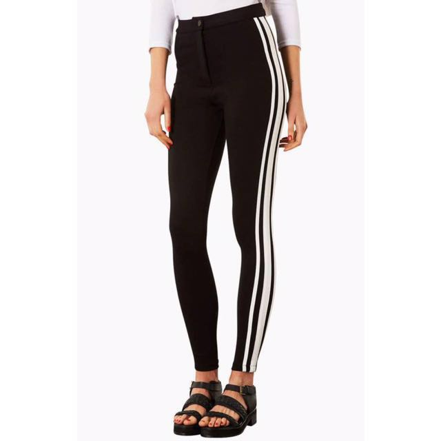 Authentic Topshop sporty athletic 3 side stripe panel trousers pants leggings jeggings tights