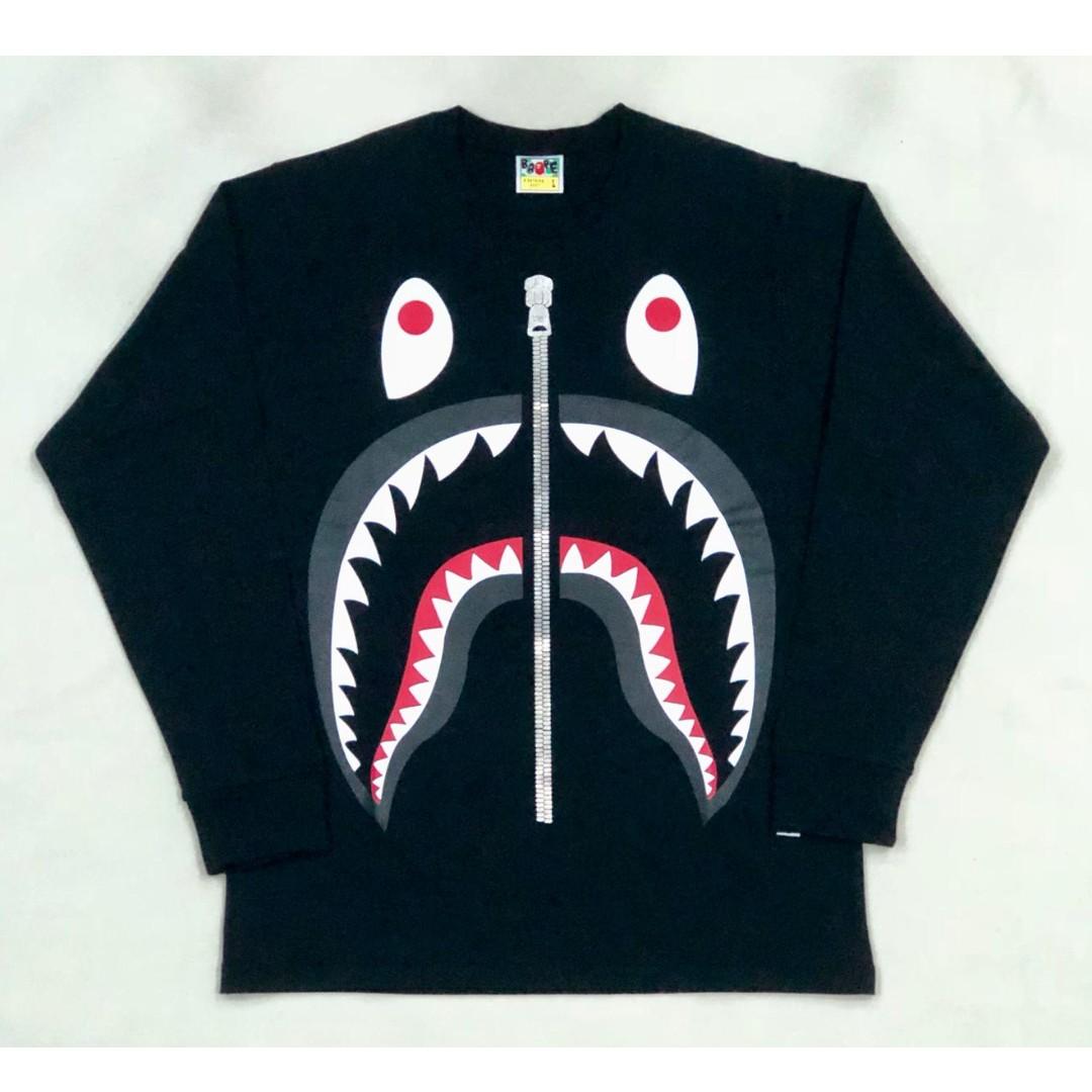 BAPE Big Shark Long Sleeve Tee Mens Fashion Clothes On Carousell