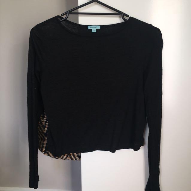 Black KOOKAI long sleeve top cropped