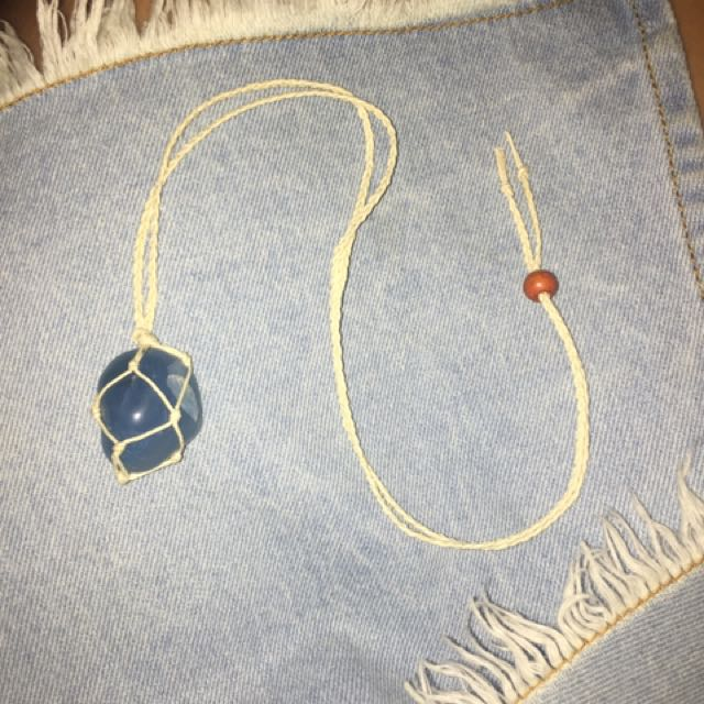 Blue Agate Handmade Crystal Necklace