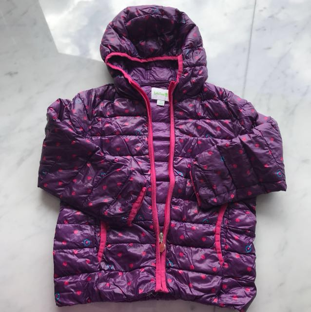 Bossini Purple Hearts Bubble Jacket sz 110