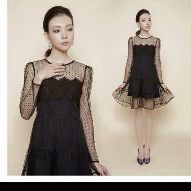 Brand New Polka Dot Lace Dress Au6-8