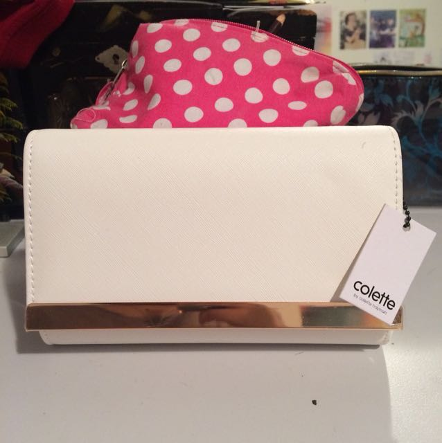 *BRAND NEW* white and gold Colette Jasmine Clutch