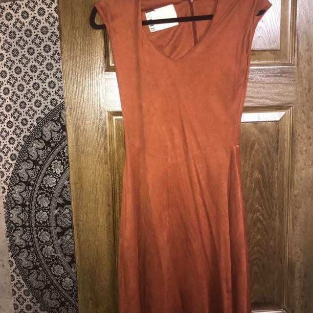 Burnt Orange Suede Like Dress
