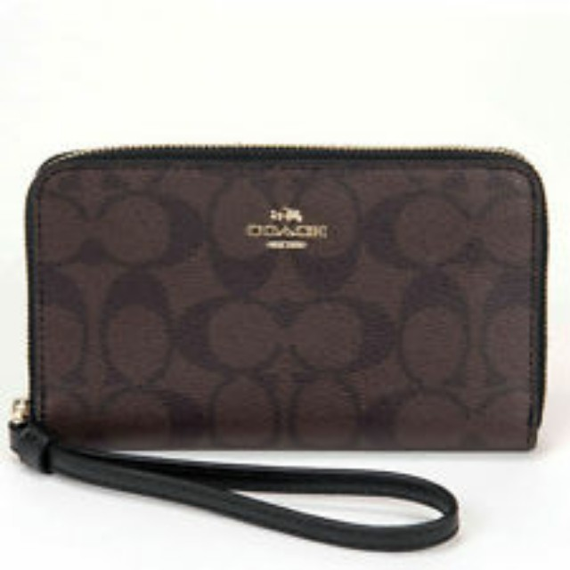 COACH F57468 - Phone wallet in signature coated canvas (brown  black ... 4ab0d5a4740af