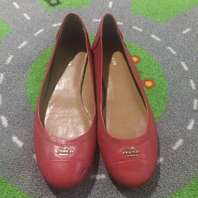 Coach Flat Shoes Red Authentic