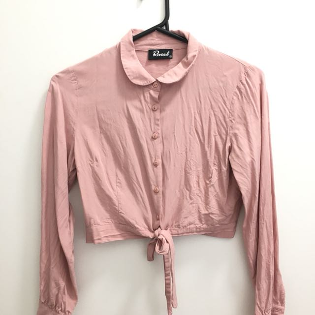 Dangerfield Revival Blush Cropped Button-up