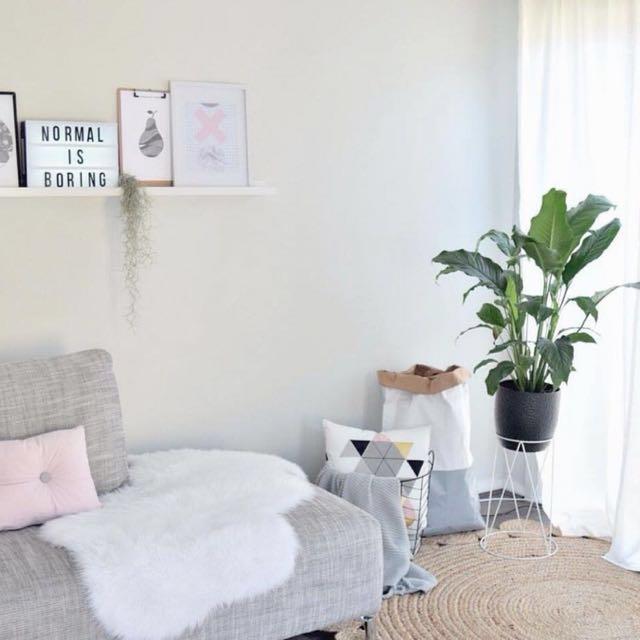 Faux Fur Sofa Throw Rug White