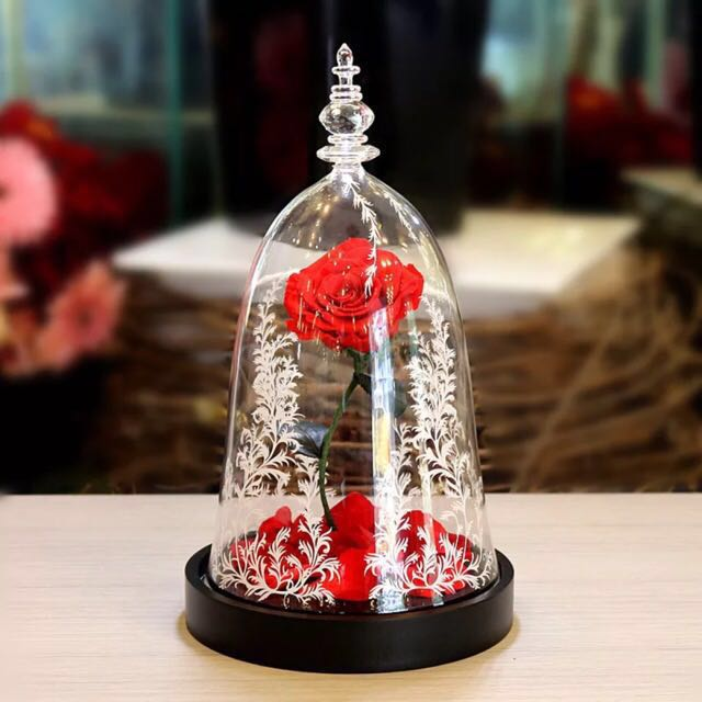 Beauty And Beast Rose Jar: Floral Bell Jar Beauty And The Beast Glass Dome Enchanted