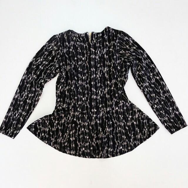 Flower black long sleeve peplum blouse baju formal floral bunga hitam