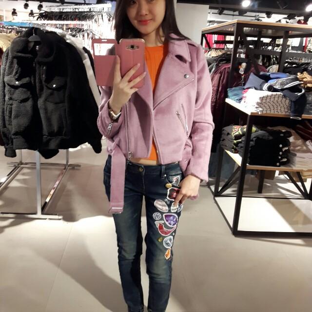 Forever21粉紫色絨外套