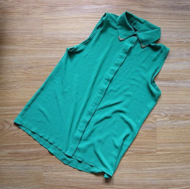 Green see-through sleeveless top