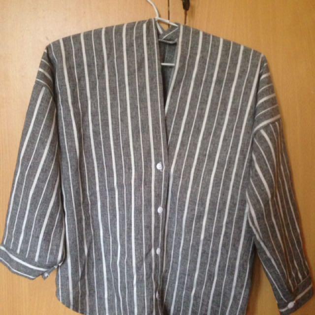 Grey stripes top
