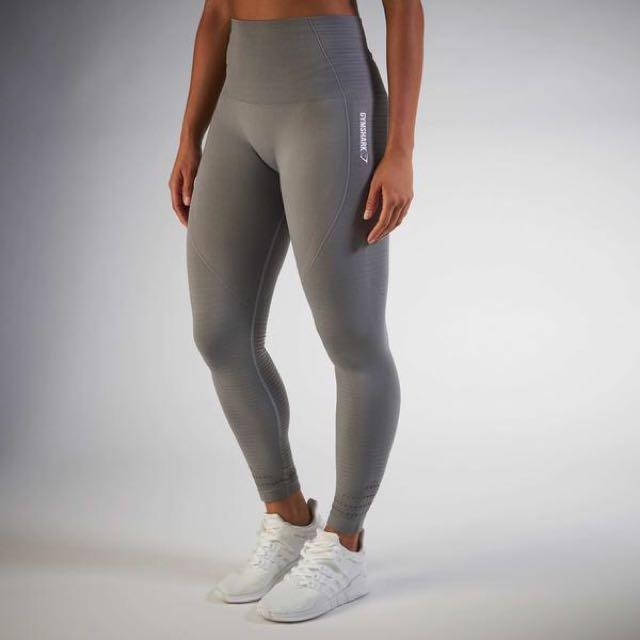 fd44e0716b0cc9 Gymshark Seamless Leggings Slate Grey Marl, Sports, Sports Apparel on  Carousell