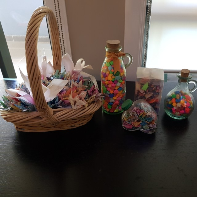 Hand made paper cranes+stars+flowers gift sets