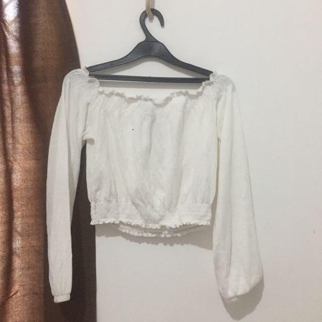 H&m white sabrina shirt tumblr