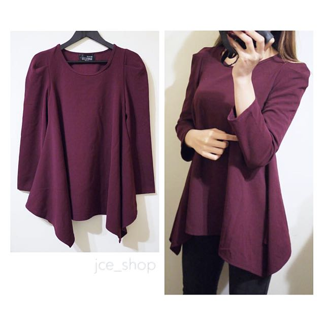 icon.韓國品牌紫紅色素面圓領下擺傘狀修身長袖長版上衣小洋裝