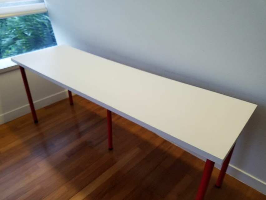 Ordinaire ... Ikea Long Study Table With Red Legs ...