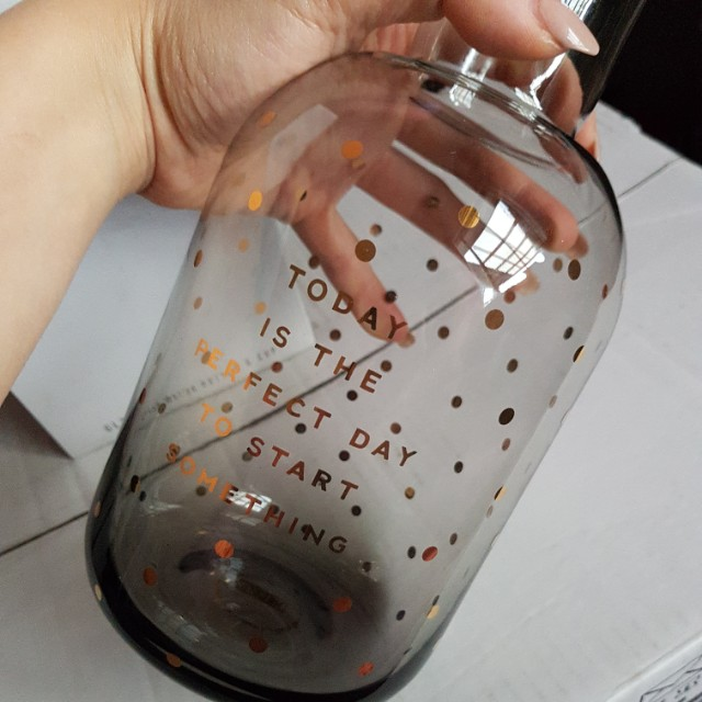 Kikki.k glass water bottle