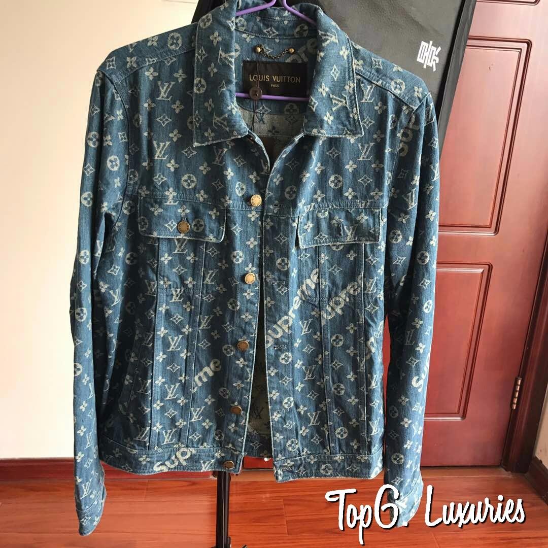 6c737c007 LV X Supreme Denim Jacket ( Light / Dark Blue ), Men's Fashion ...