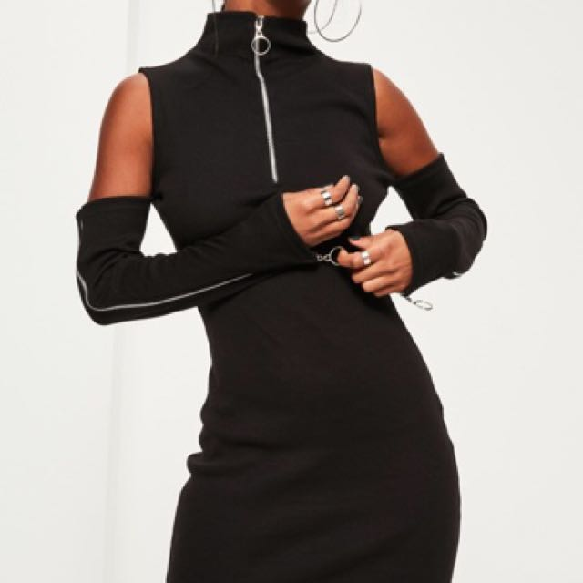 missguided black zip bodycon dress
