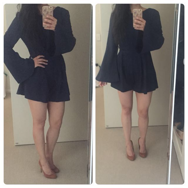 Navy bell sleeve low back playsuit