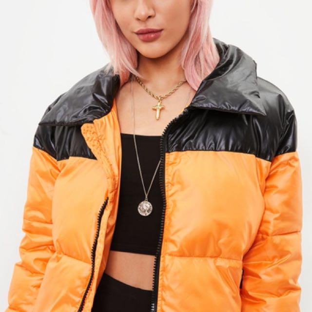 Orange/Black puffer cropped jacket