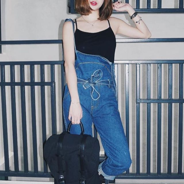 Oversized Jeans Self Tied Jumpsuit