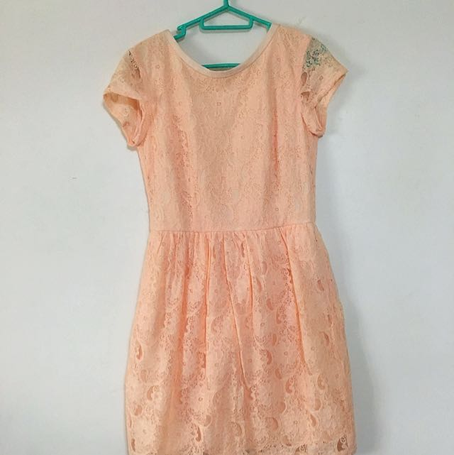 Peach Orange Color Lace Dress With Lining Women S Fashion Clothes Dresses Skirts On Carou