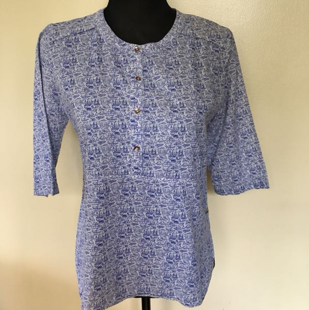 Peppermint printed top, 3/4 sleeves, blue, Small