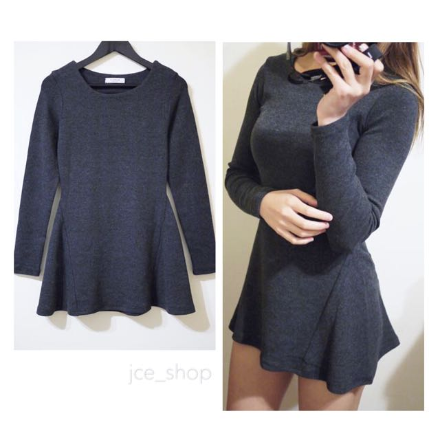 PLAYROOM韓國品牌深灰色彈性棉質圓領合身款素面有腰身長袖長版上衣連身洋裝