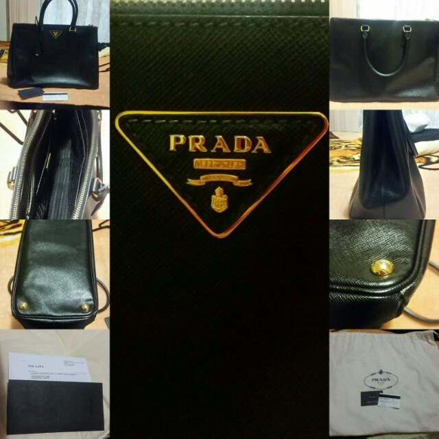 Prada / Saffiano Lux / Shopping Tote / Nero