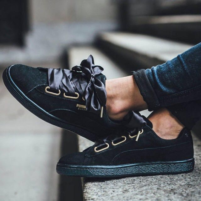 78c43a121e42 Puma Suede Heart Satin Black (Iridescent sole effect ✨), Women's Fashion,  Shoes on Carousell
