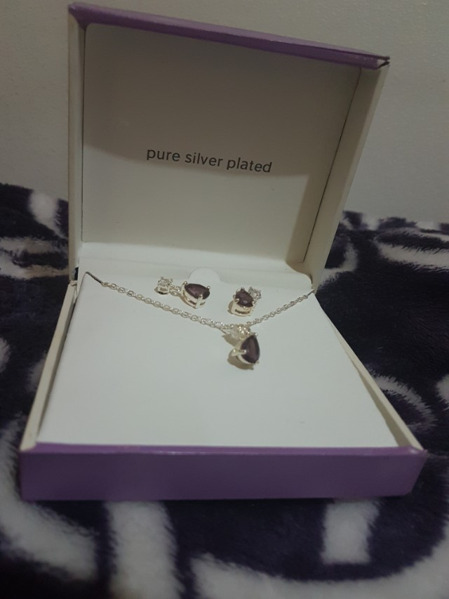 Pure Silver Plated Earrings and Necklace
