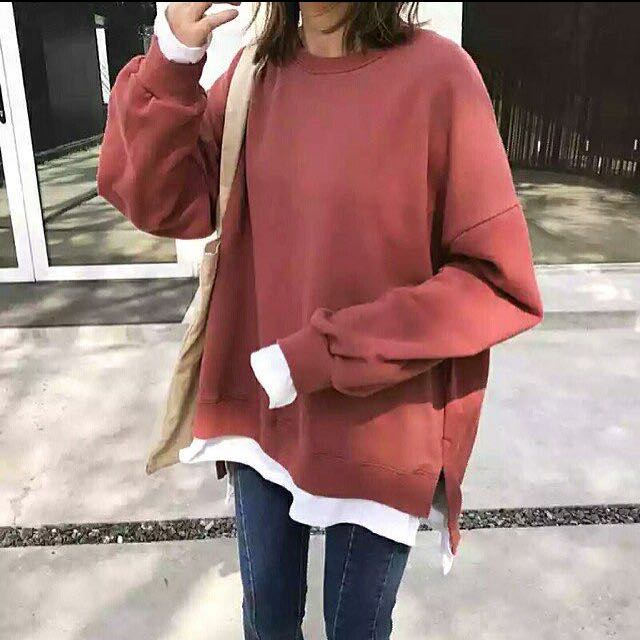 ReadyStock Fake 2 Pieces Oversized Loose Sweater Shirt