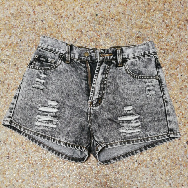 Ripped Grey Denim Shorts