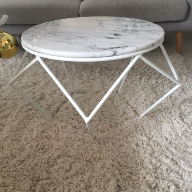 Round White Marble Coffee Or Side Table Geometric Furniture - Geometric marble coffee table