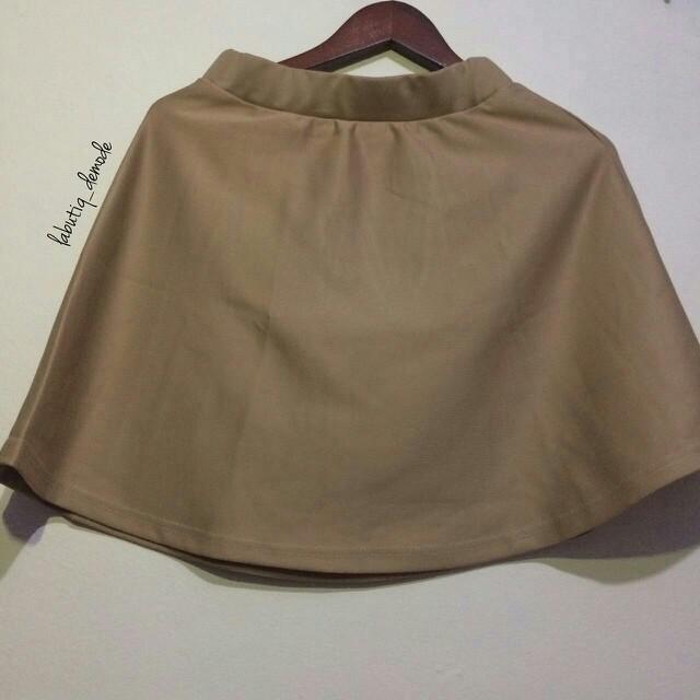 Scuba Korean Skirt Soft Mocca