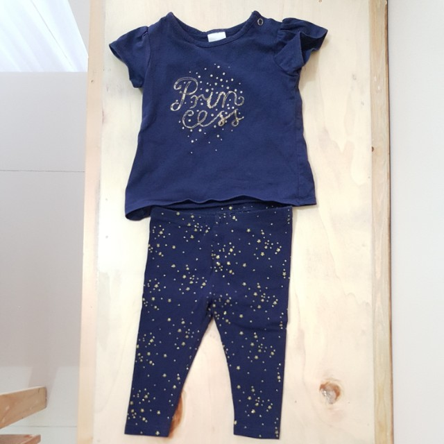 Shimmery Princess Shirt and Pants Terno (3-6 mos)