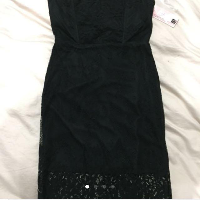 showpo little black lace dress LBD