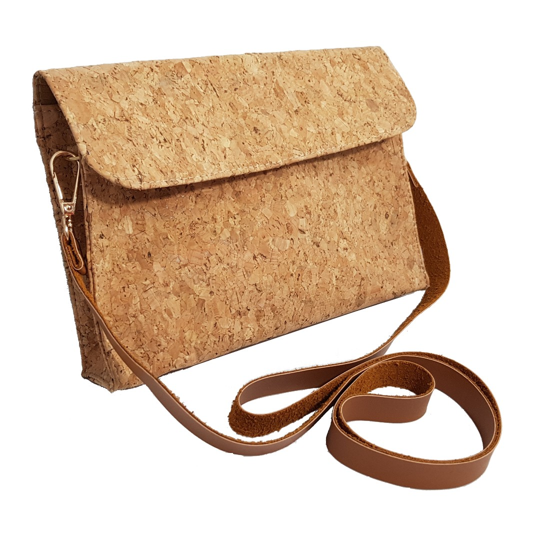 Snap Button Cork Clutch cum Handbag with Sling