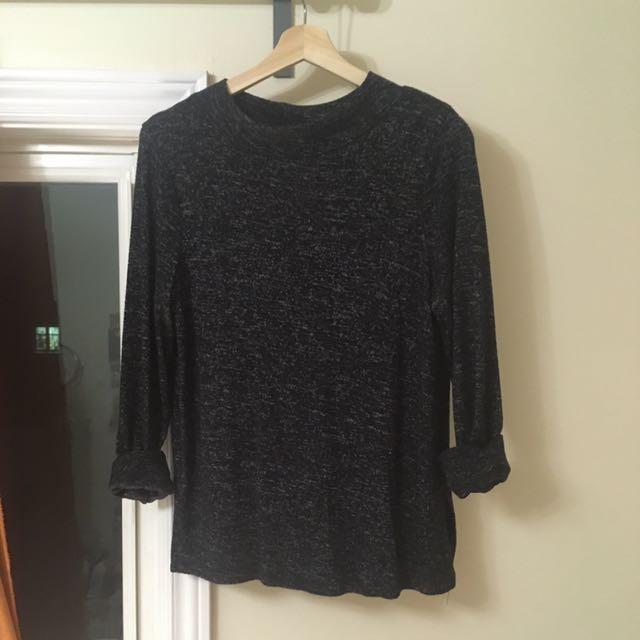 Soft black fleece sweater
