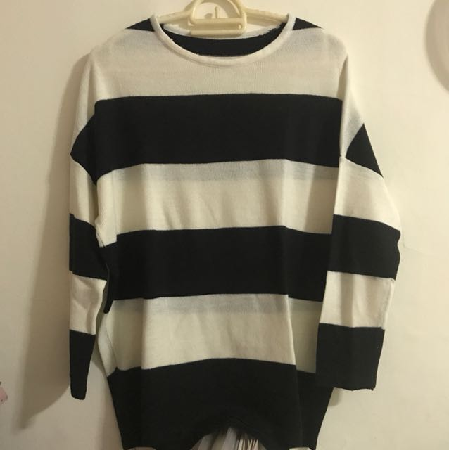 Stripe Knit Top Black Broken White