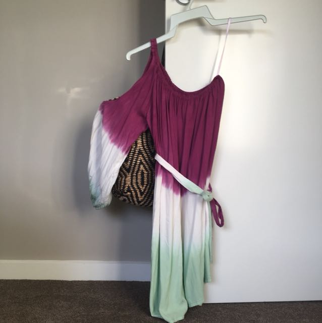 Tie dye off the shoulder dress