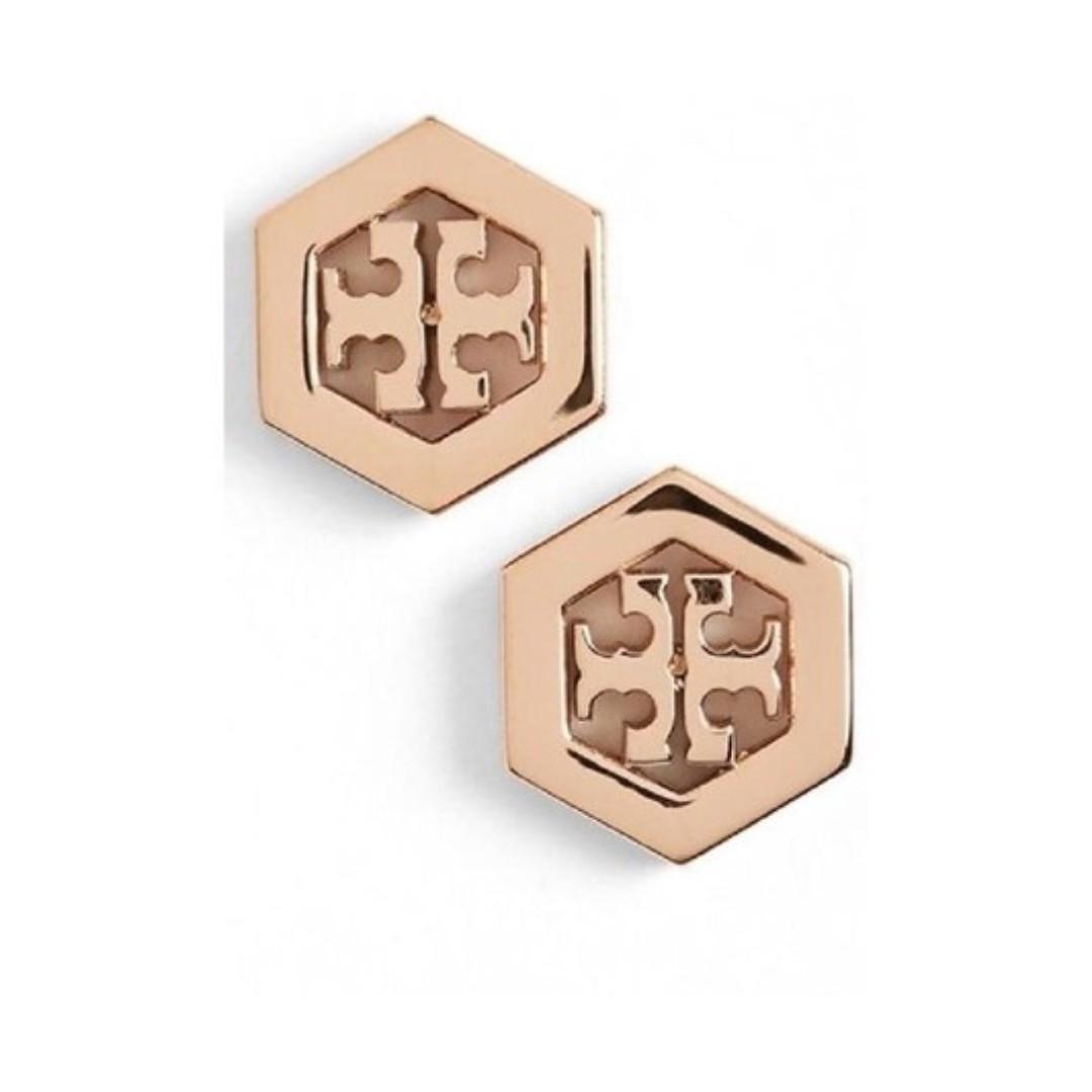 Tory burch rose gold hexagon logo stud earrings instock luxury tory burch rose gold hexagon logo stud earrings instock buycottarizona Images