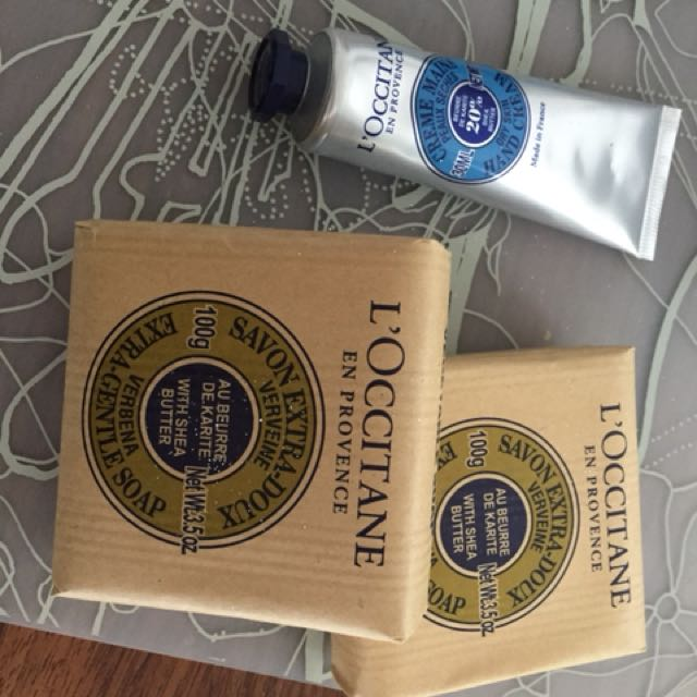 Two L'Occitane soaps and one hand cream