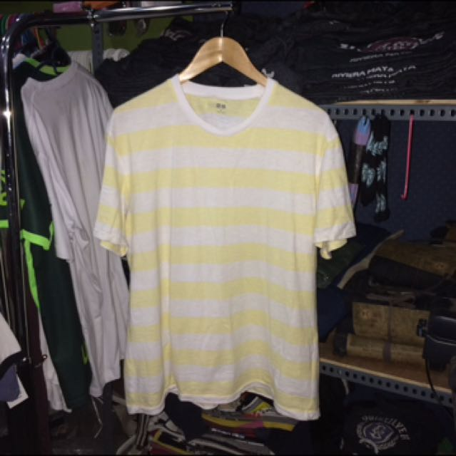 5e812c5bb2 UNIQLO YELLOW/WHITE STRIPES TEE, Men's Fashion, Clothes on Carousell